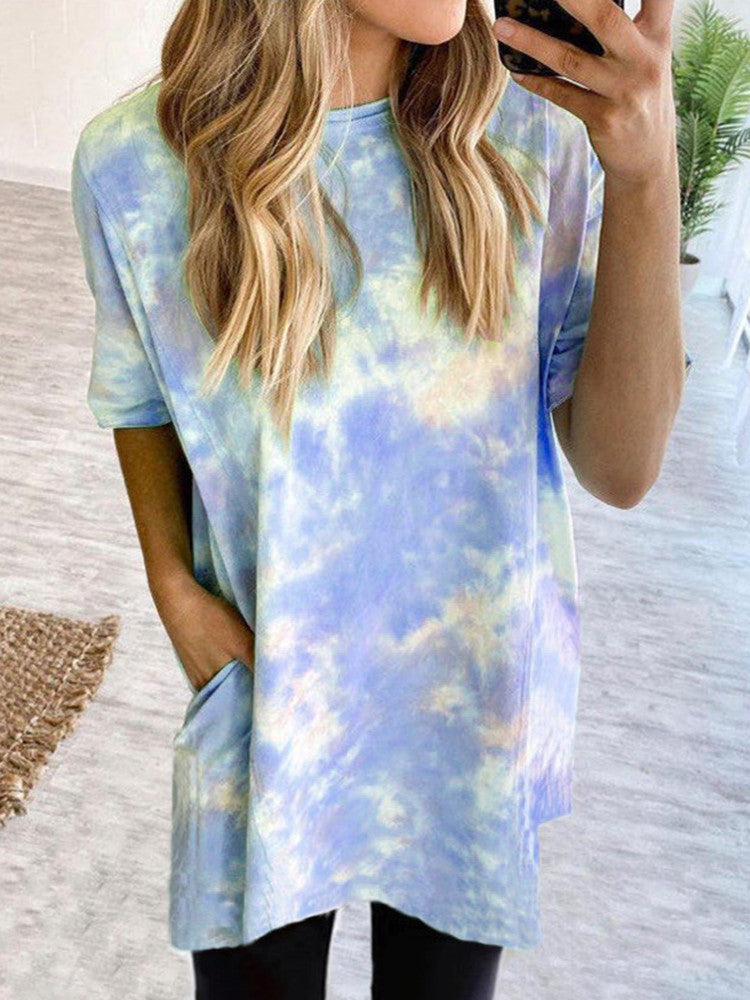 Tie-Dye Short-Sleeve Round-Neck Loose Long T-shirt - JNjeans