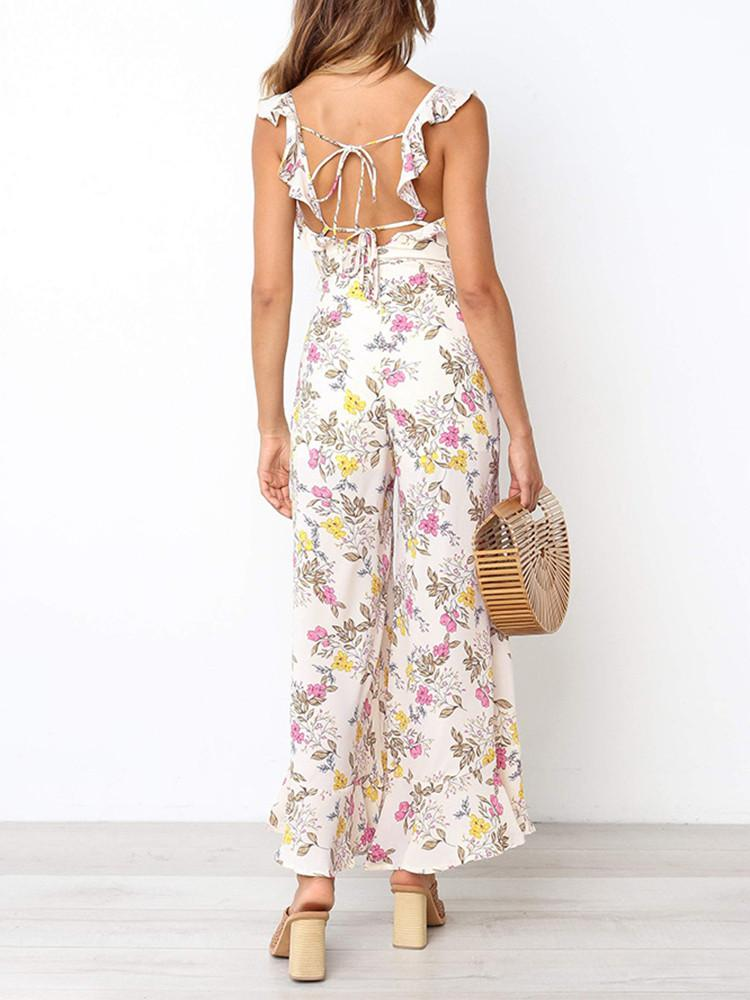 Floral Ruffle Straps Backless Belted Jumpsuit - JNjeans