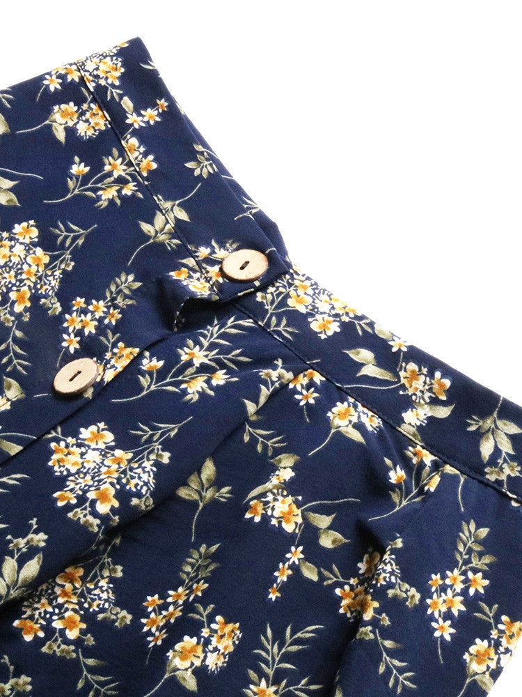 Floral Thigh Button Side-Split Ruffled Skirt - JNjeans