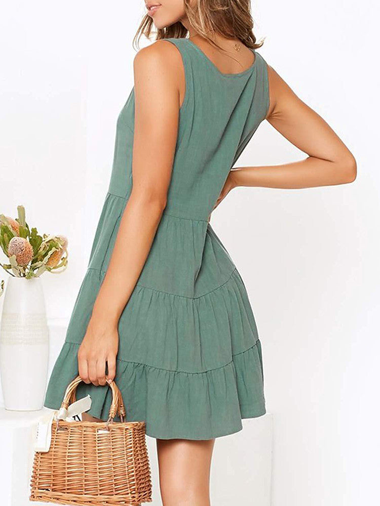 V-Neck Strappy Button Pleated Swing Dress - JNjeans