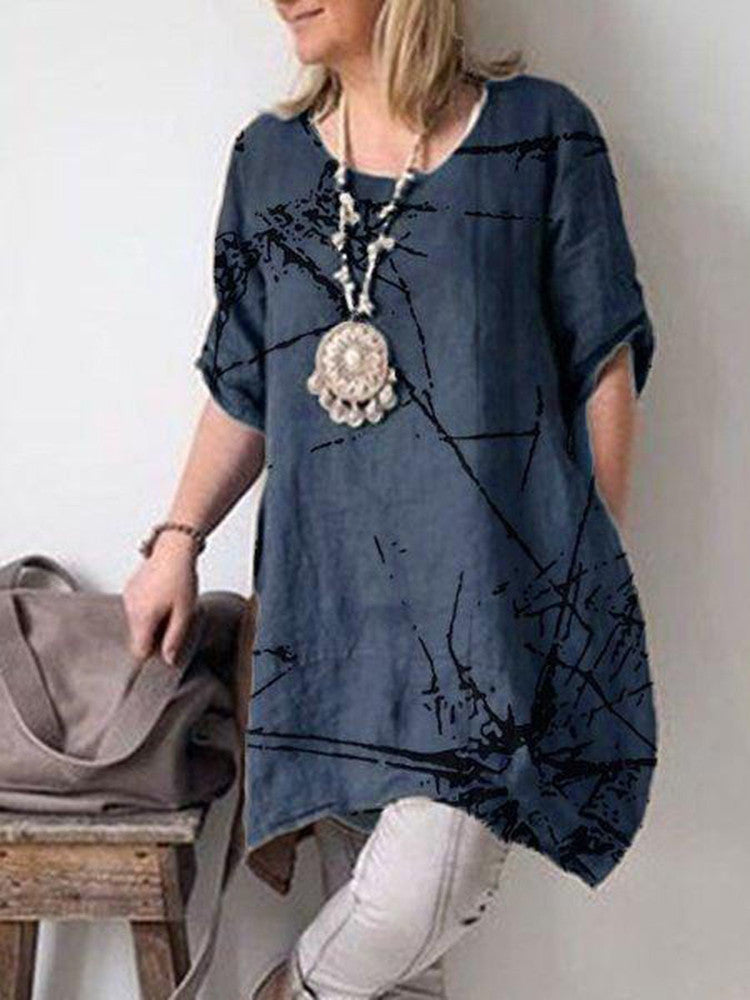 Tunic Round-Neck Plus-Size Top - JNjeans