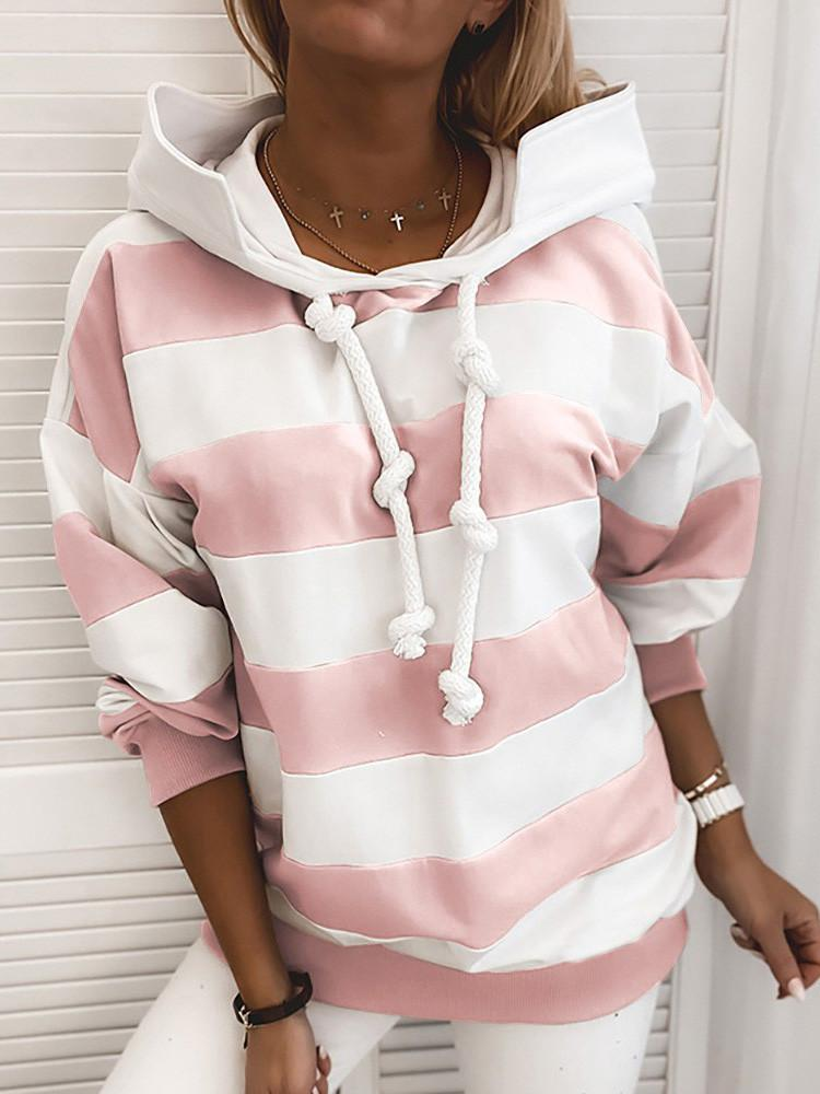 Long Sleeve Striped Thin Hoodie - JNjeans