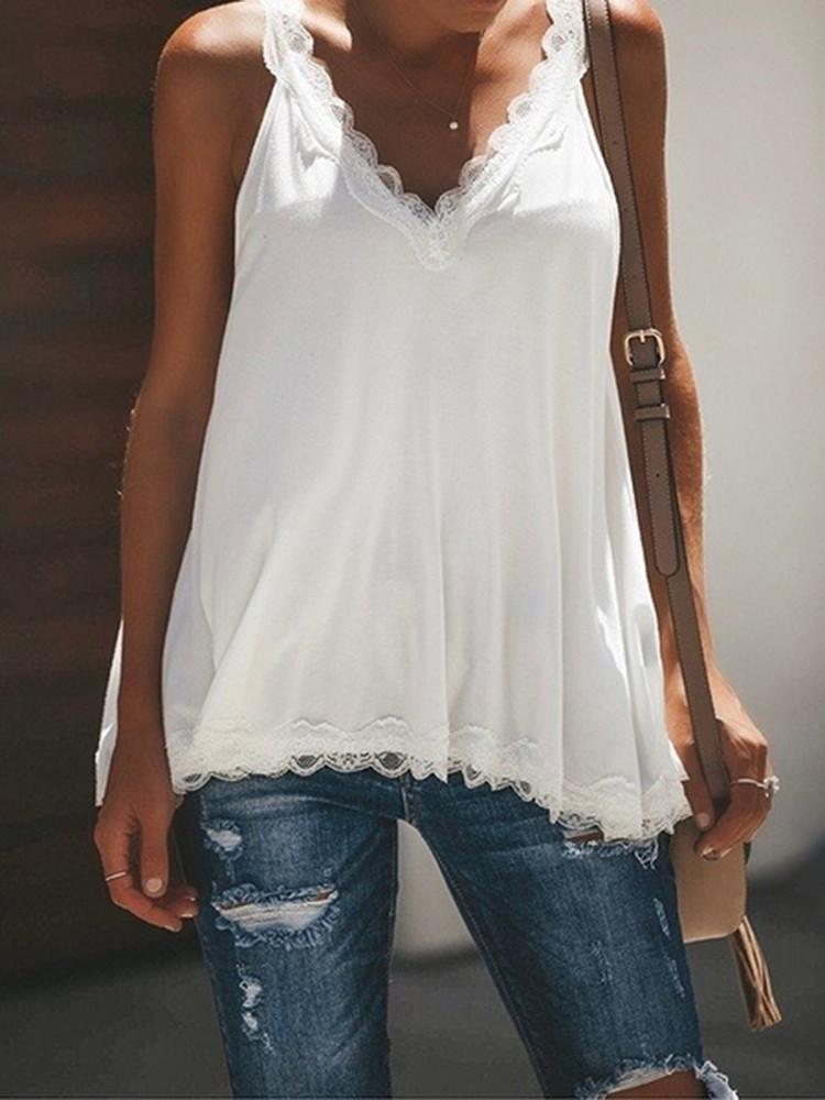 Solid Lace Patchwork V-Neck T-Shirt - JNjeans