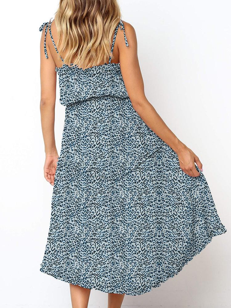 Floral Tie-Straps Belted Midi Dress - JNjeans