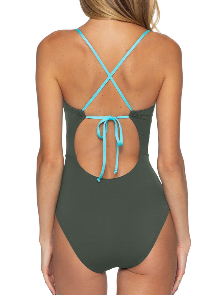 Contrast Color Bow-knot One Piece Swimsuit - JNjeans