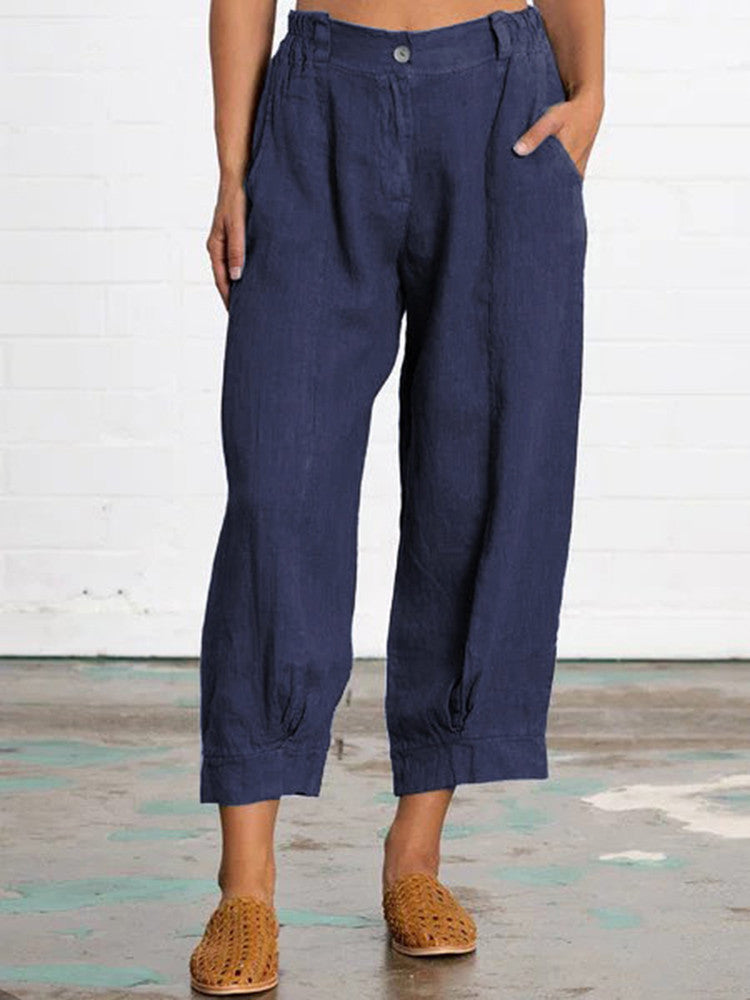 Solid Casual Loose Pockets Pant - JNjeans