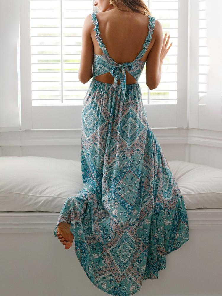 Floral Strappy Tie-Back Side-Slit Maxi Dress - JNjeans
