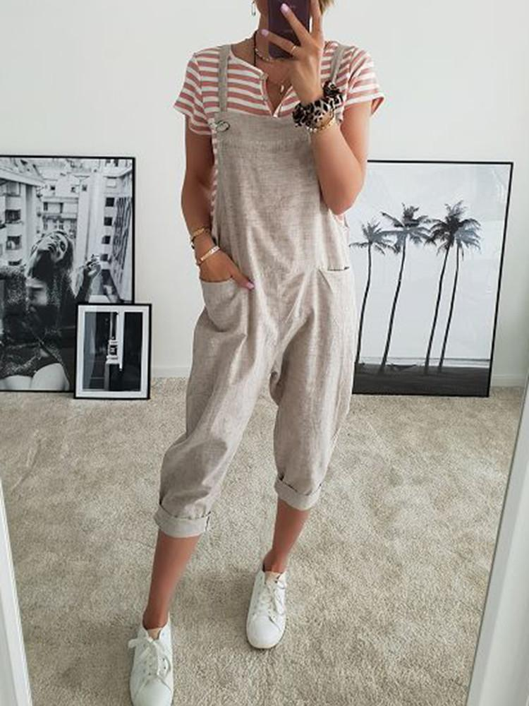 Strappy Pockets Mid-Calf Suspender Jumpsuit - JNjeans