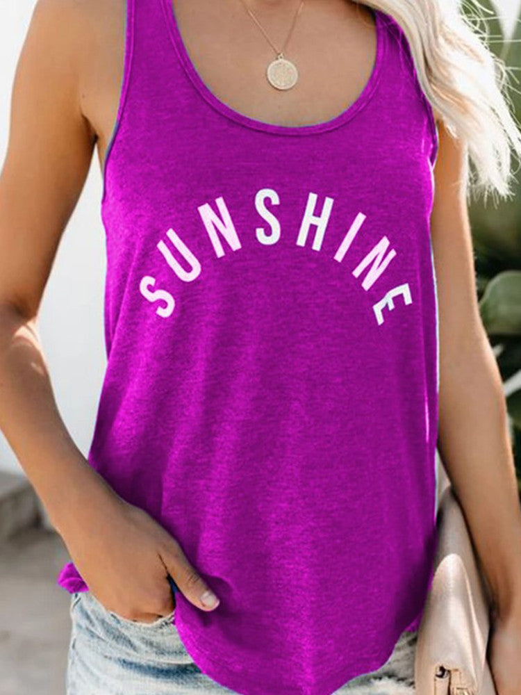 Sunshine Printed Casual Tank Tops - JNjeans