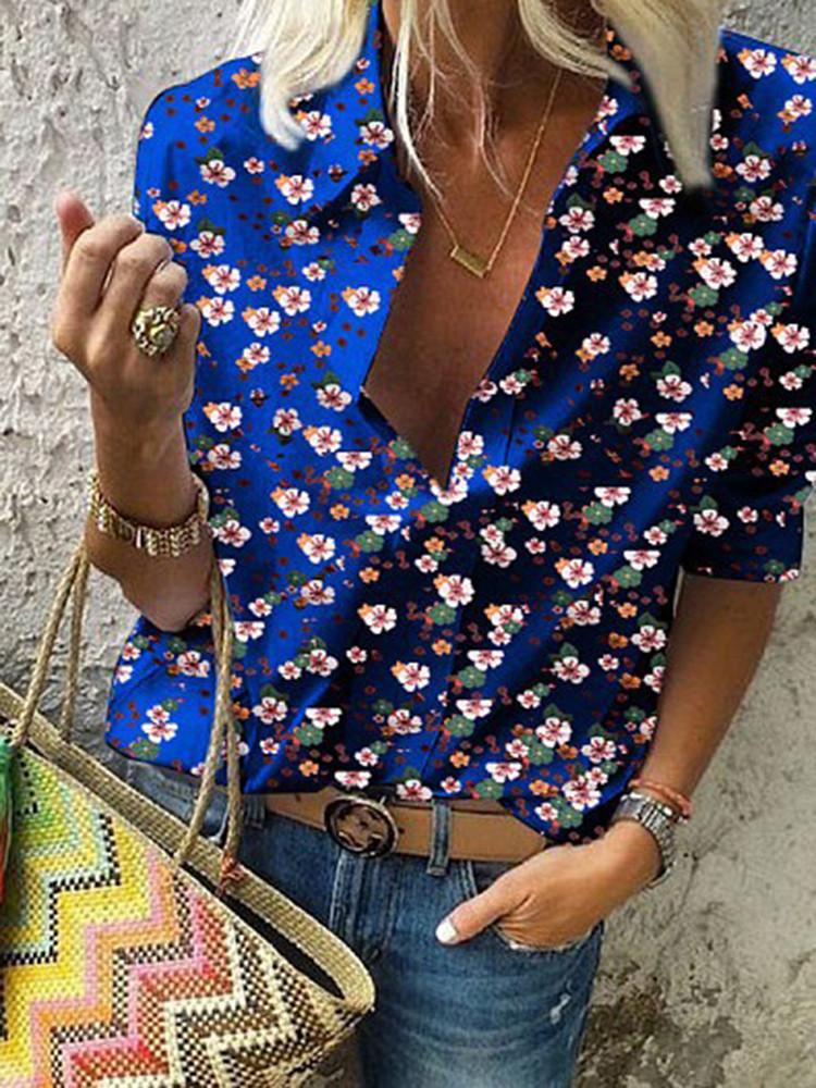 Floral Print Long Sleeve Casual Shirt - JNjeans