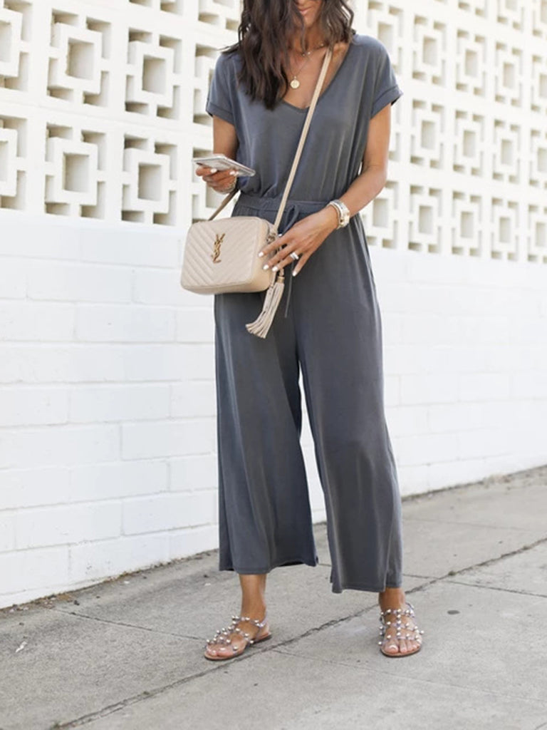 V-neck Drawstring Wide-leg Solid Jumpsuit - JNjeans