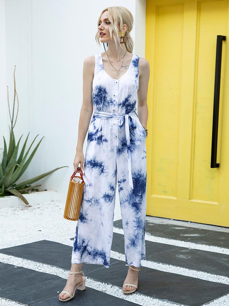 Tie-dye Strappy Button-Front Belted Pockets Jumpsuit - JNjeans