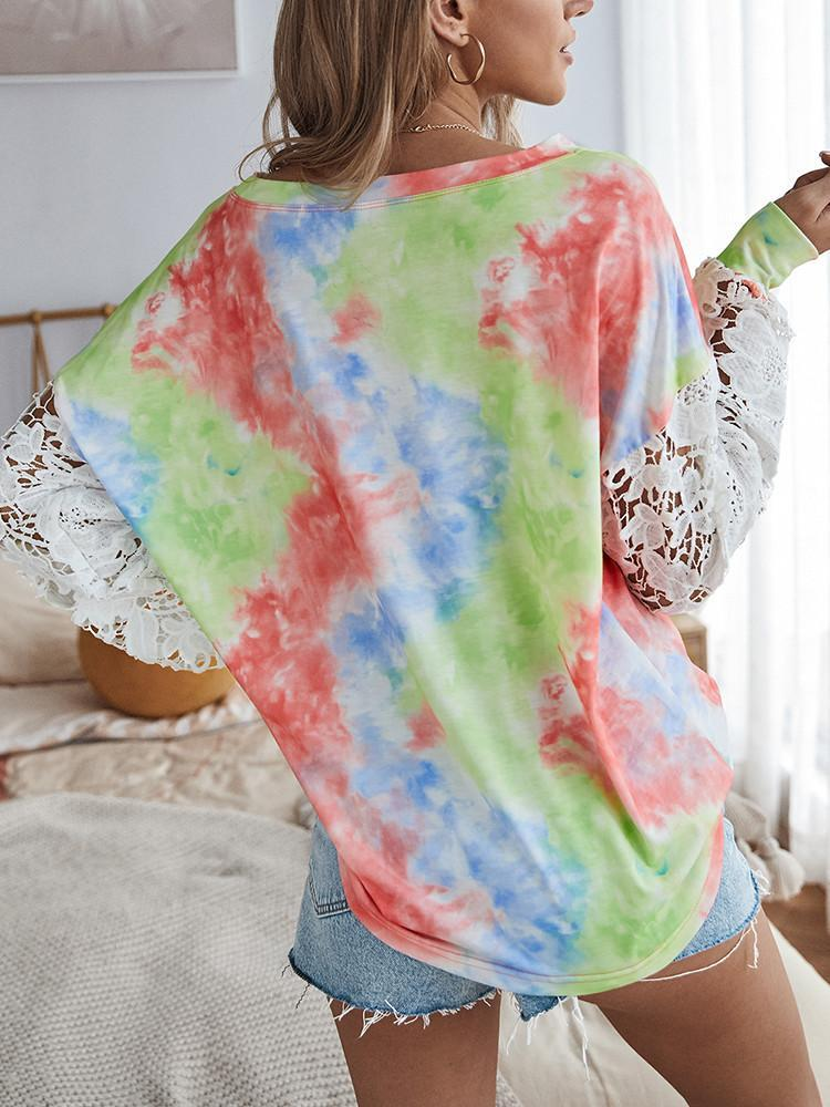Tie-dye Print Lace Stitching Long-sleeved Pullover - JNjeans