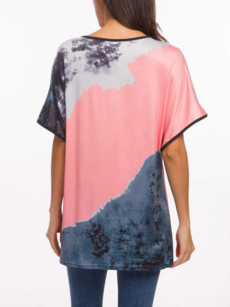 Tie-dye Printed Bat Sleeve Loose T-Shirt - JNjeans