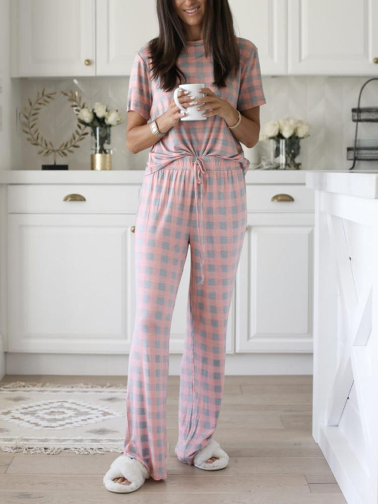 Floral Short-Sleeve Drawstring Floor-Length Pajama Two-pieces - JNjeans