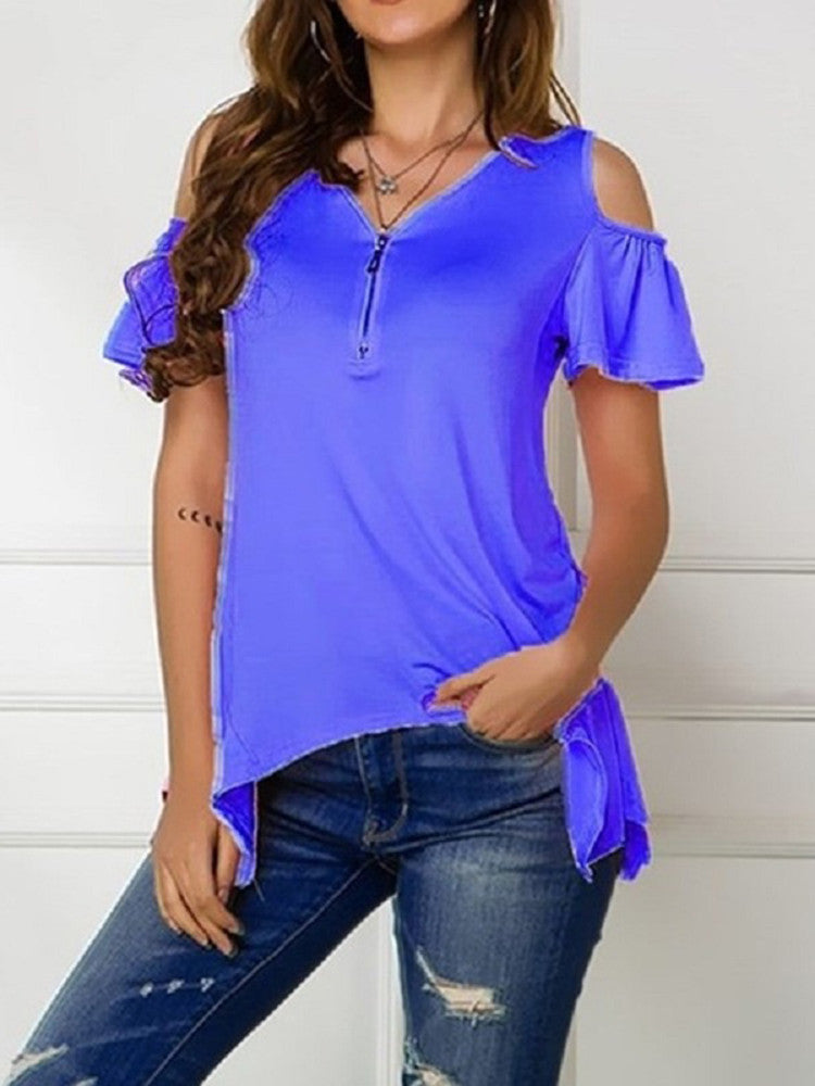 Cut Out Shoulder Casual T-Shirt - JNjeans