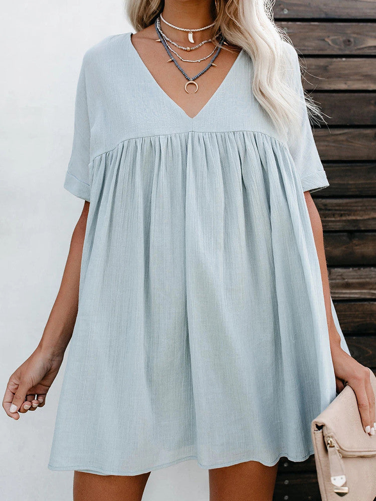V-neck Splice Loose Comfortable Short-sleeve Dress - JNjeans