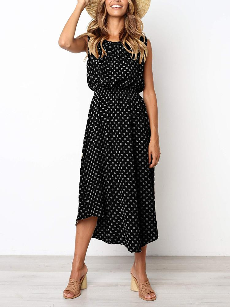 Polka Dots Round-Neck Sleeveless Elastic-Waist Dress - JNjeans