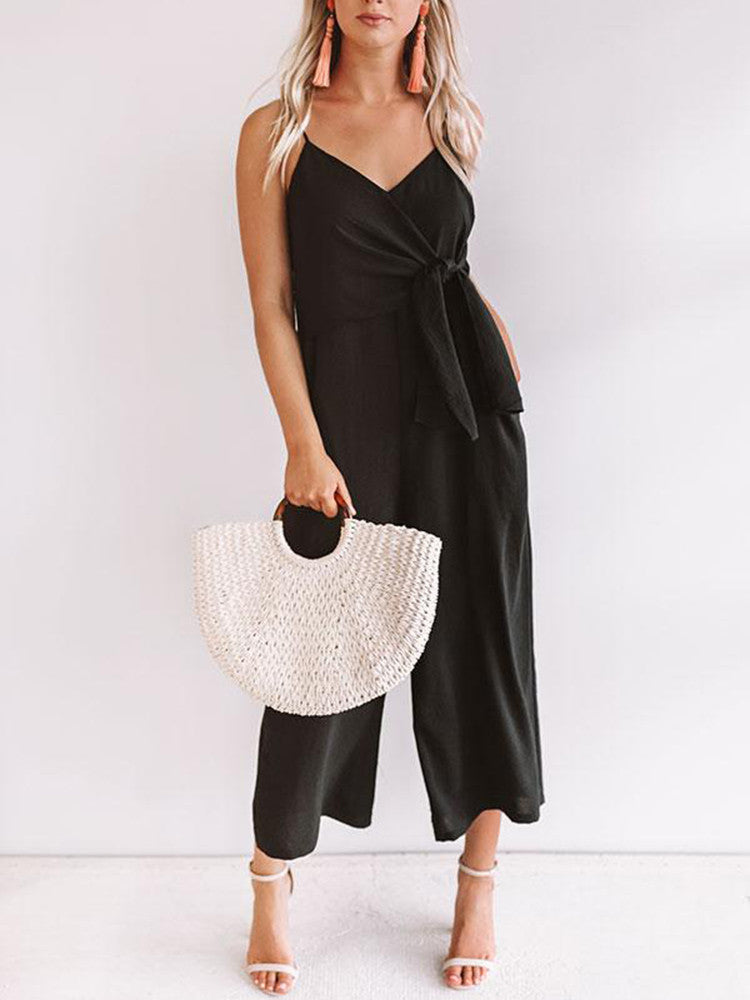 V-neck Sling Knotted Wide-leg Solid Jumpsuit - JNjeans