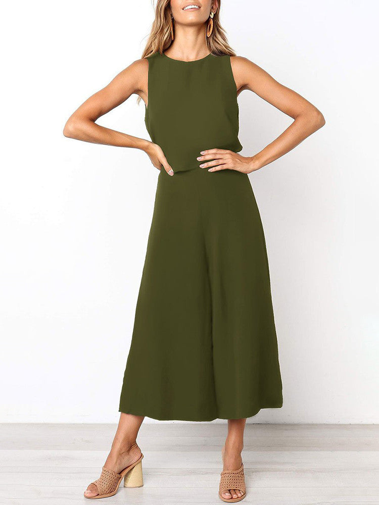 Sleeveless High Waist Wide-Leg Solid Jumpsuit - JNjeans