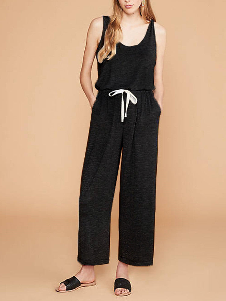 Solid Round-Neck Sleeveless Drawstring Tank Jumpsuit - JNjeans