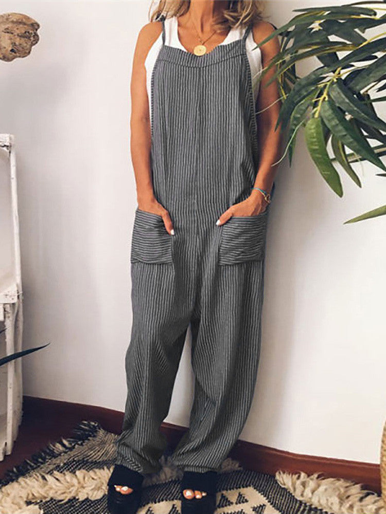 Striped Lace-up Pockets Loose Jumpsuit - JNjeans