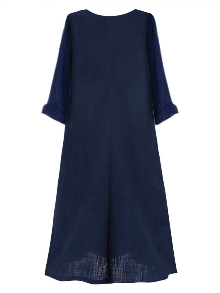 Cotton-Linen Patchwork Maxi Plus Size Dress - JNjeans