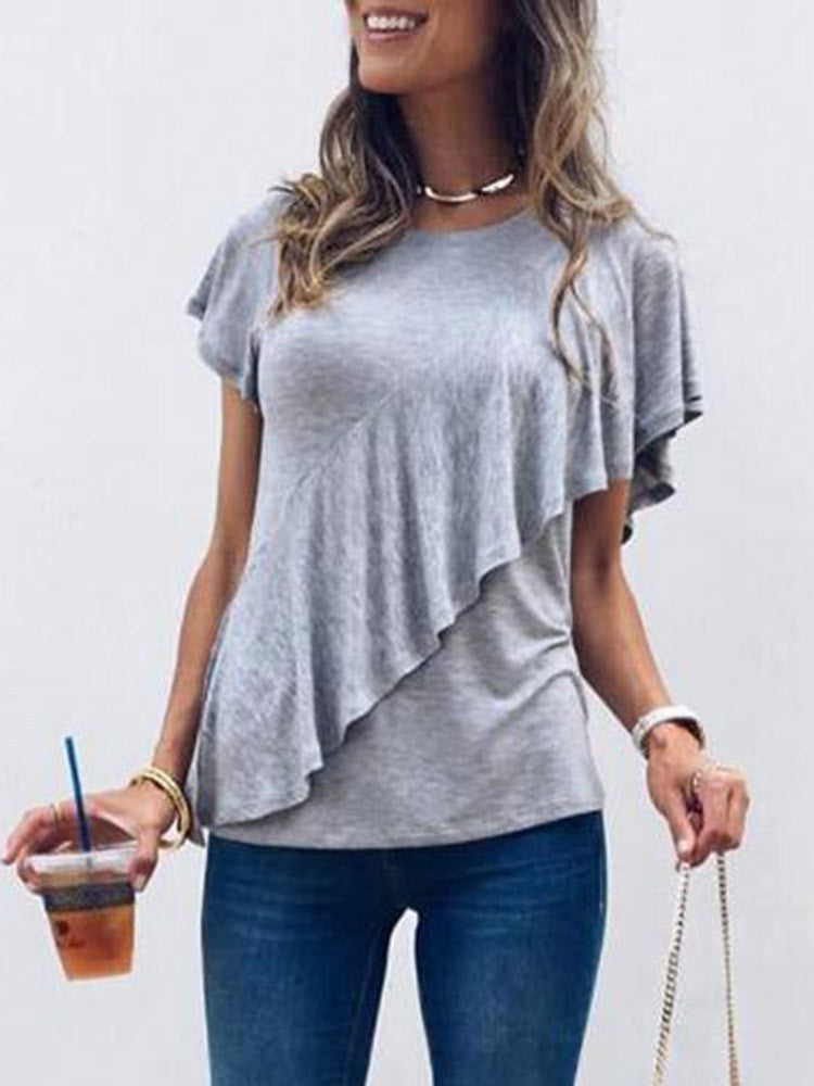 Ruffled Short Sleeve Casual T-shirt - JNjeans