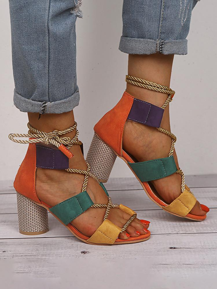 Color-Matching Thick Medium Heel Cross-Strap Sandals - JNjeans