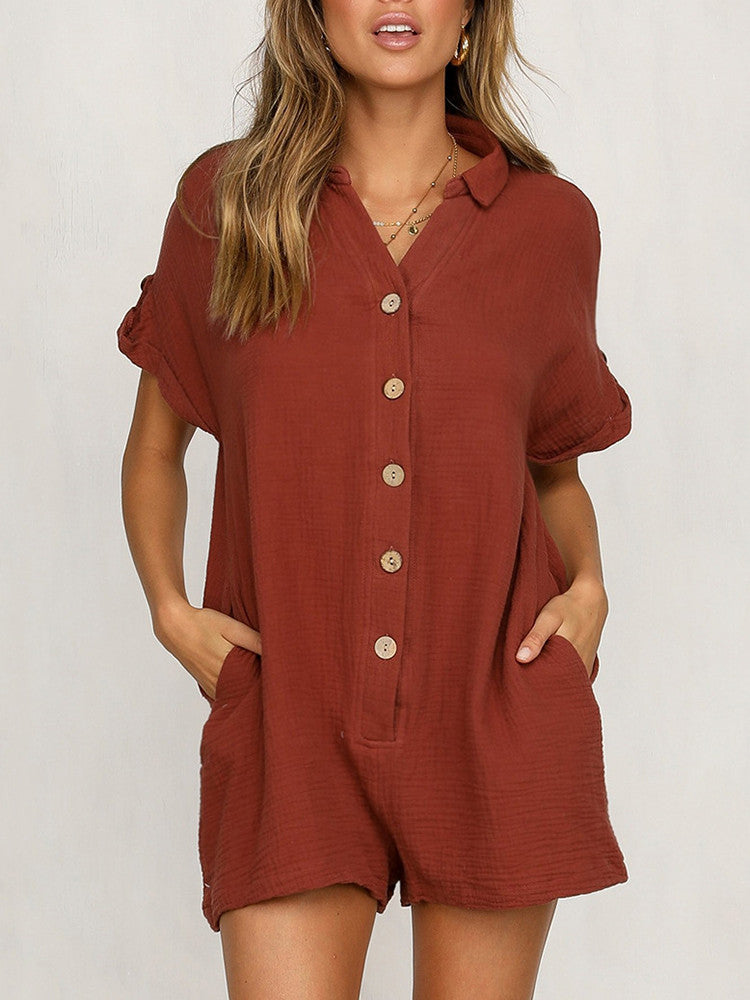 Buttoned Pocket Loose Solid Romper - JNjeans