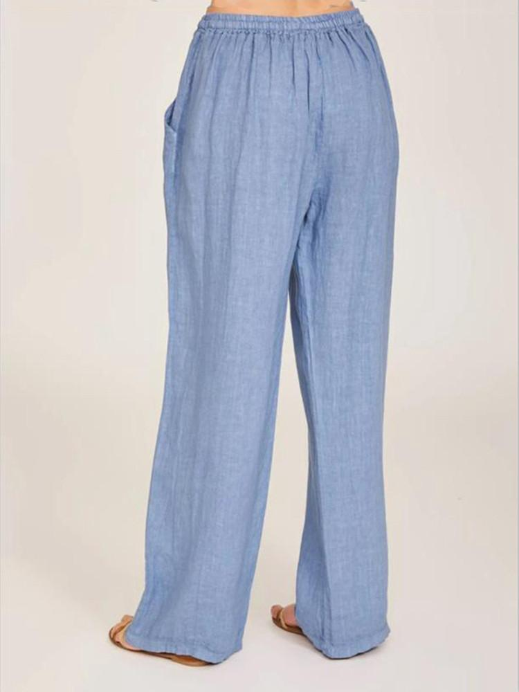 Solid Side Pockets Self-tie Pants - JNjeans