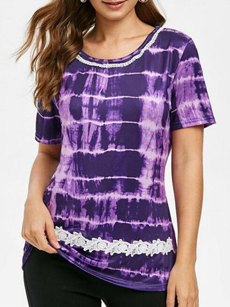 Crew Neck Tie-dye Print Lace Panel T-Shirt - JNjeans