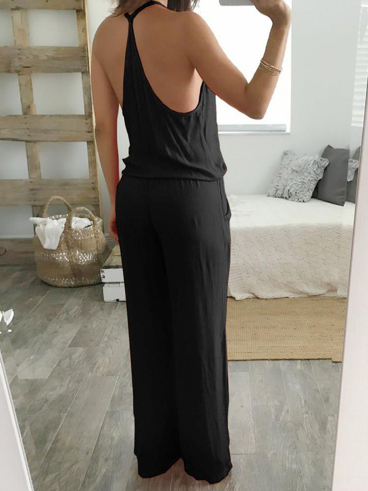 Solid Spaghetti-Straps Wrap Backless Pockets Jumpsuit - JNjeans