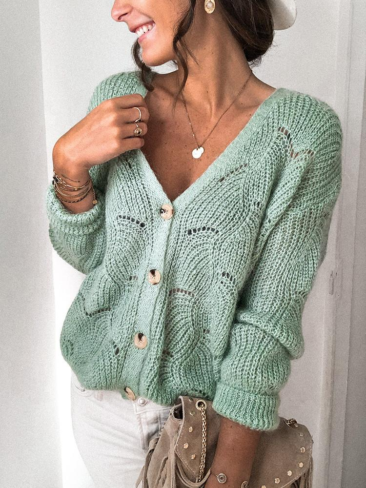 V-neck-Solid-Button-Hollow-Sweater-Cardigan