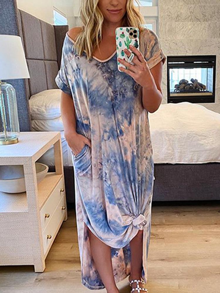 Tie-dye V-Neck Plus-Size Maxi Dress - JNjeans
