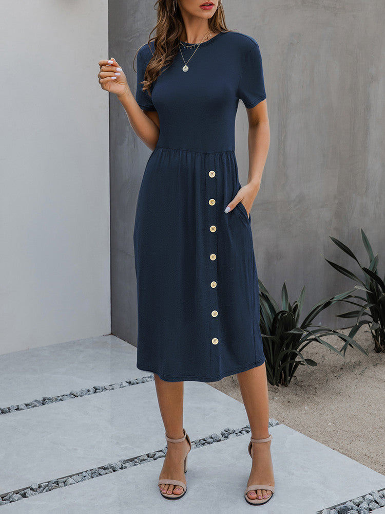 Solid Short-Sleeve Button Jersey Midi Dress - JNjeans