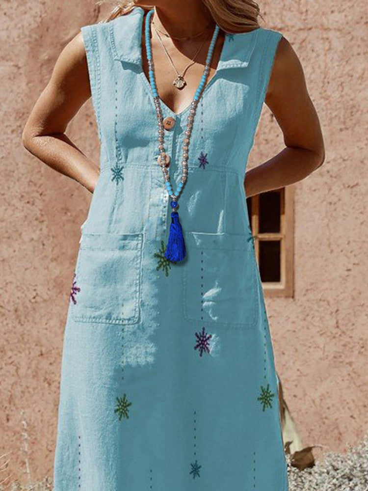 Natural Stone Turquoise Crystal Tassel Necklace - JNjeans