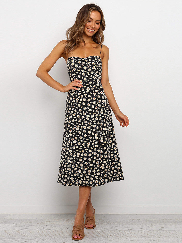 Spaghetti Straps Daisy Split Hem Dress - JNjeans