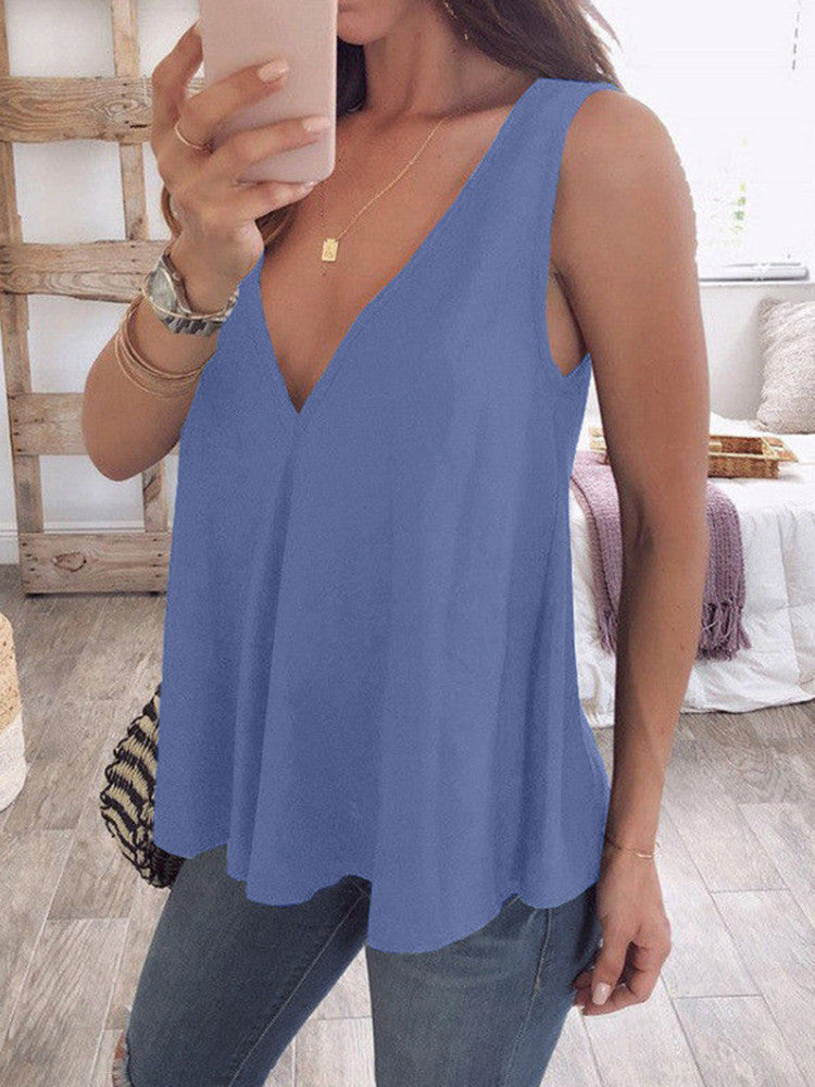 Chiffon Strappy V-Neck Twist Tank Top - JNjeans