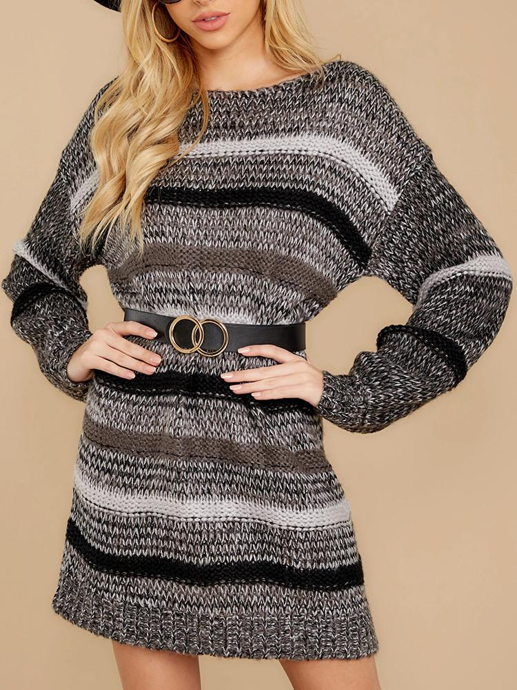Loose-Striped-Round-Neck-Dress-Sweater