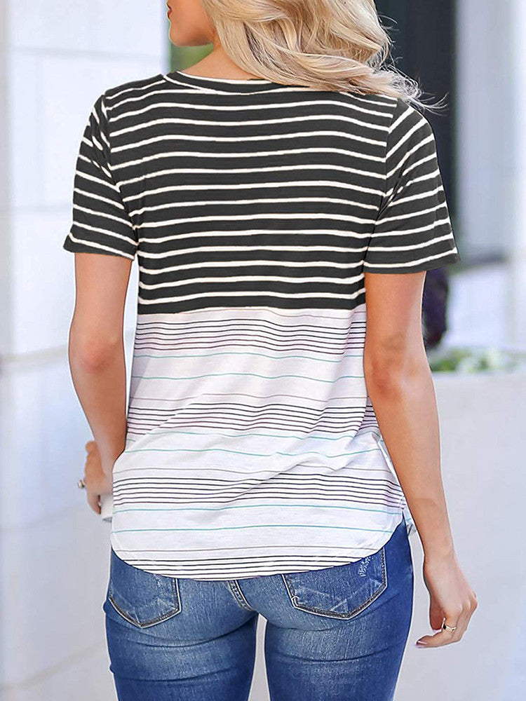 Colorful Striped Short Sleeve T-Shirts - JNjeans