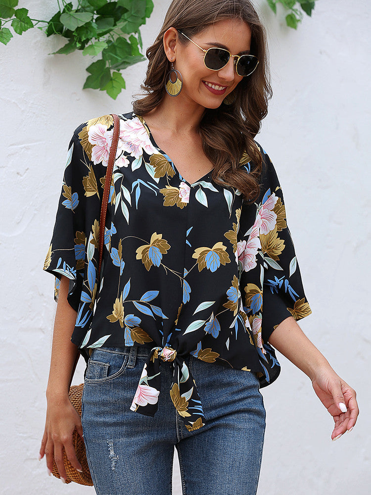Floral Tie Front Summer Tops - JNjeans