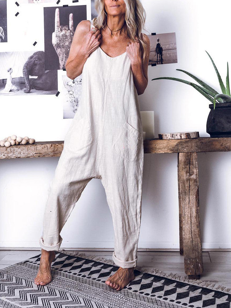 High Waist Sleeveless Jumpsuits - JNjeans