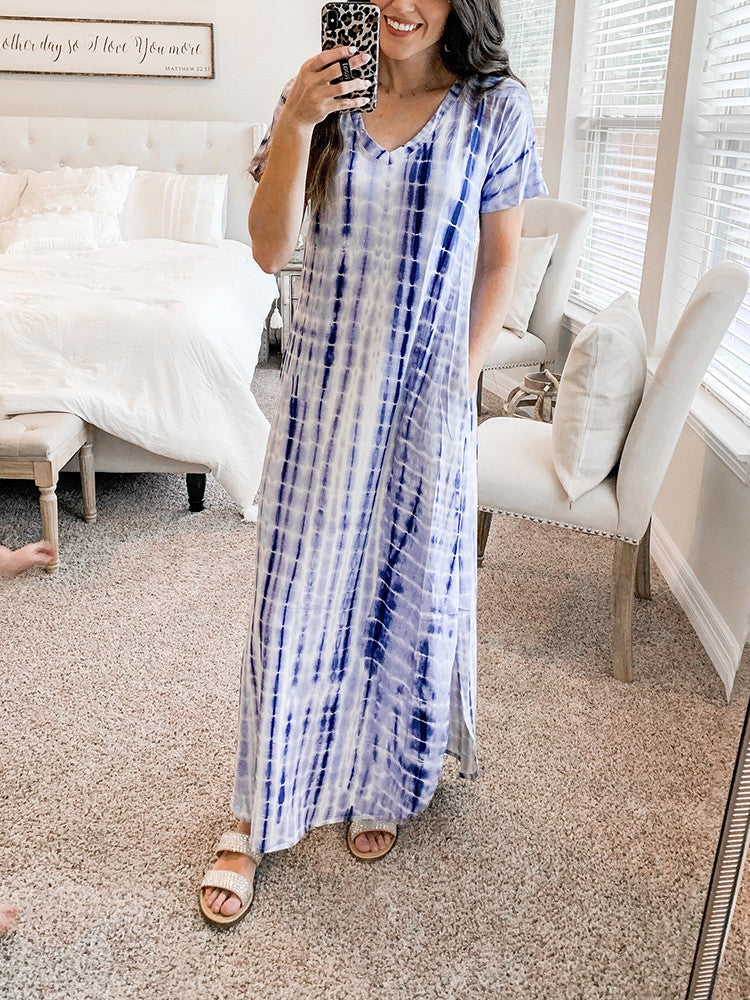 Tie-Dye Side-Split V-Neck Short-Sleeve Maxi Dress - JNjeans