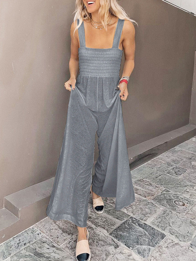Straps Shirred Wide Leg Jumpsuit - JNjeans