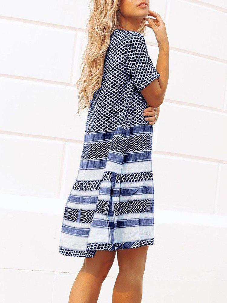 Print Round-Neck Short-Sleeve Shift Mini Dress - JNjeans