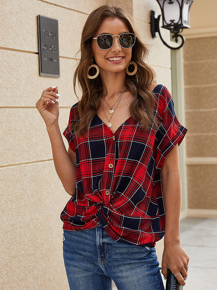 Plaid V Neck Button Casual Blouse - JNjeans