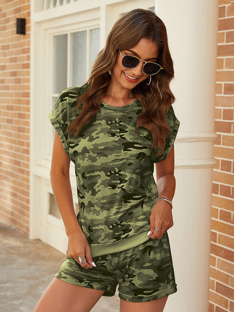 Camouflage Printed Shirt And Shorts Sets - JNjeans