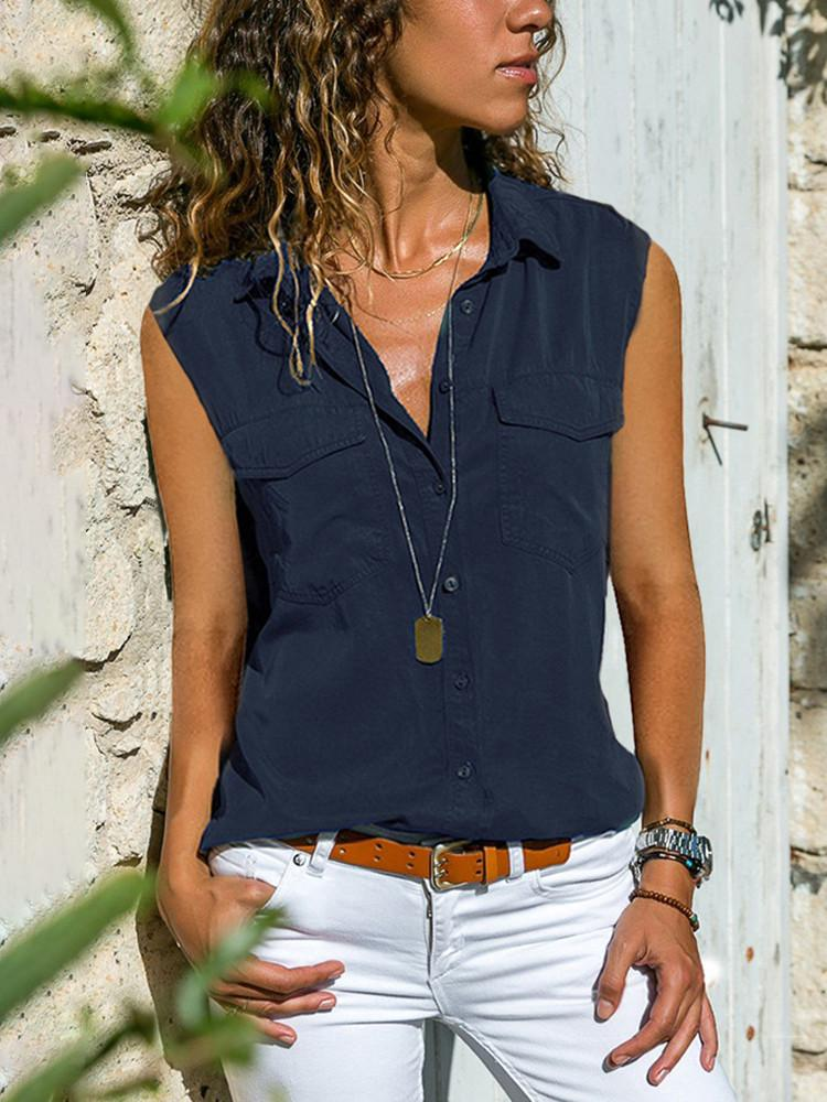 Casual Solid Sleeveless Pockets Shirt - JNjeans