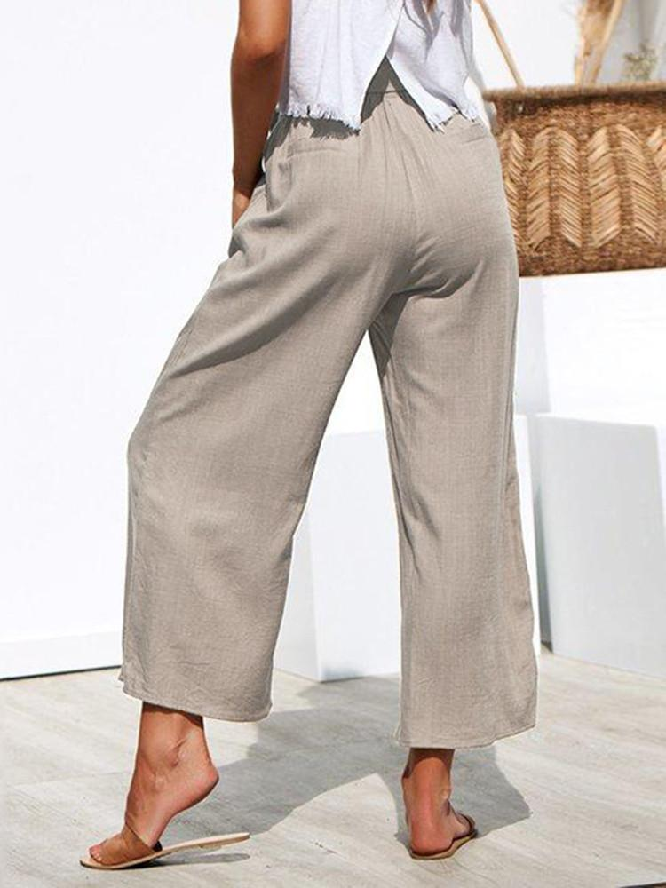 Belted Solid Wide-Leg Pants - JNjeans